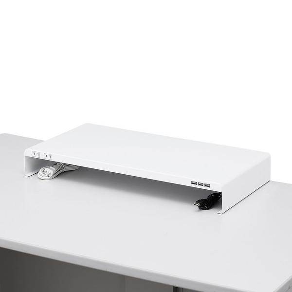 サンワサプライ デスク 電源タップ+USBポート付き机上ラック W600×D300 ホワイト MR-LC203W