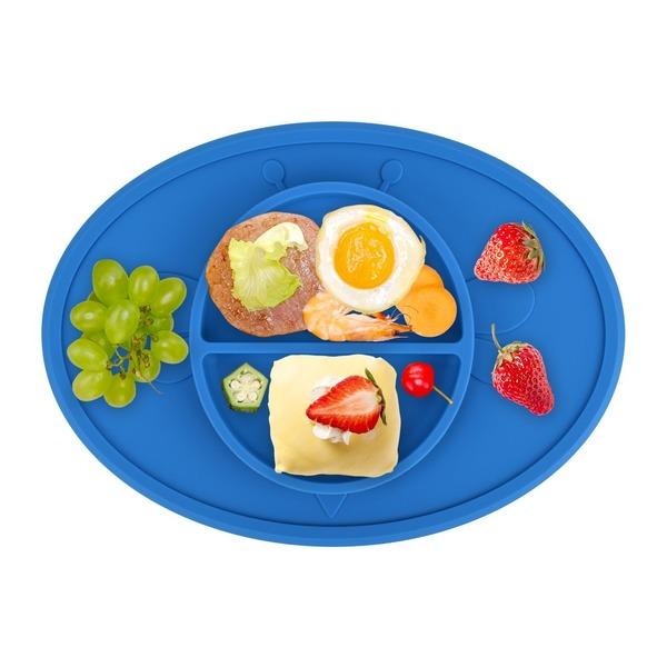 お食事マット ランチョンマット ランチプレート シリコン 離乳食 ベビー食器 幼児 赤ちゃん 子供 キッズ 滑り止め(青)