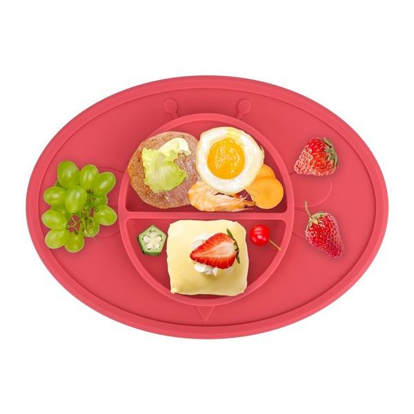 お食事マット ランチョンマット ランチプレート シリコン 離乳食 ベビー食器 幼児 赤ちゃん 子供 キッズ 滑り止め(赤(蜜蜂))