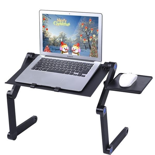 ノートパソコンスタンド, Diswoe PCスタンド マウススタンド付き 姿勢、角度、高さ調整可能 回転可能 折りたたみ式 アルミ製