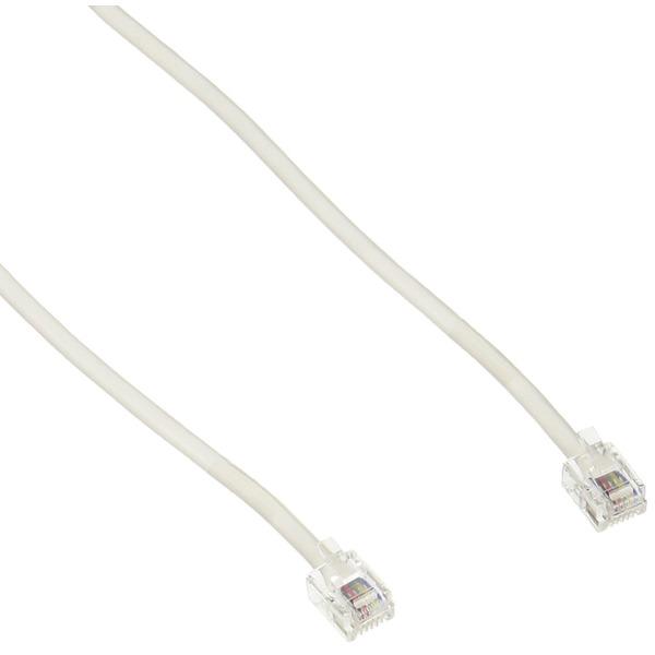 ミヨシ MCO 6極6芯/4芯/2芯 モジュラーケーブル 5m RJ-11プラグ ホワイト tc-605wh