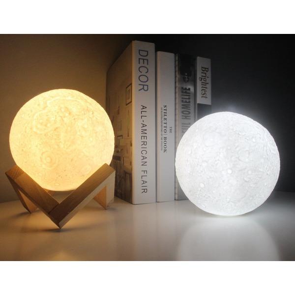 ☪月のランプ、Shome 間接照明 ベッドサイドランプ、ルームライト、USB充電式のテーブルランプ、雰囲気作り、インテリア照明、叩くと調光できるLEDライト、三色切り替える、無段階調光可能のナイトライト、3D立体効果、月のライト、癒し、おしゃれの高級上品、プレゼントにおすすめ(13CM)