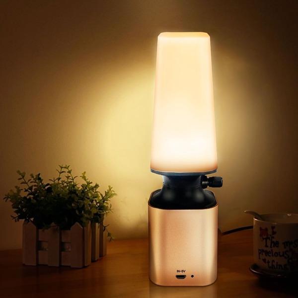 Welltop 超明るい LED デスクライト USB充電式 目に優しい 電球色 無段階調光 読書・勉強・仕事ランプ 寝室ライト ベッドサイドランプ デスクスタンド おしゃれ (金)