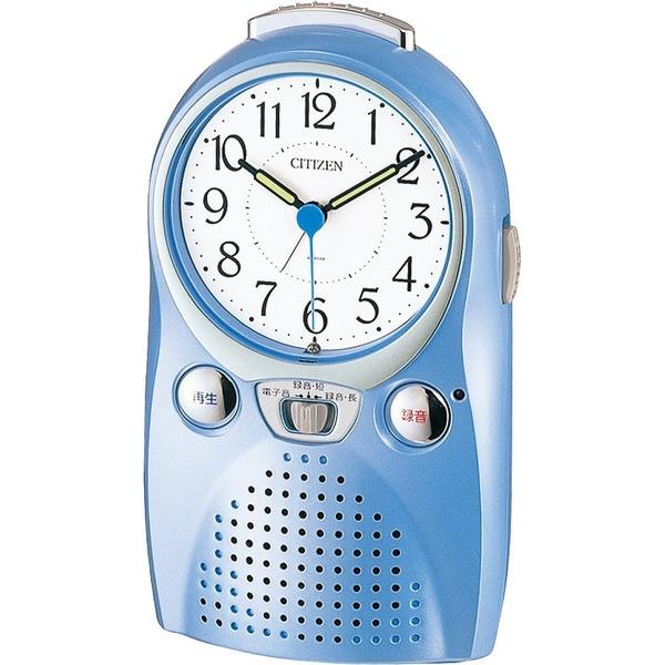 シチズン 録音 再生 おもしろ 目覚まし 時計 アナログ 伝言くんルージュW 青 CITIZEN 4SE521-004
