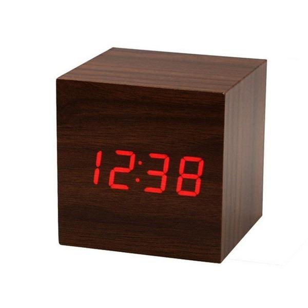 三つタンポポ デジタル 木目調 置き時計 (ブラウン)