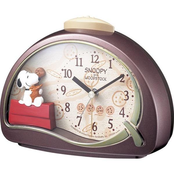 SNOOPY ( スヌーピー ) 目覚まし キャラクター 時計 アナログ R506 電子音 アラーム 茶 リズム時計 4SE506MJ09