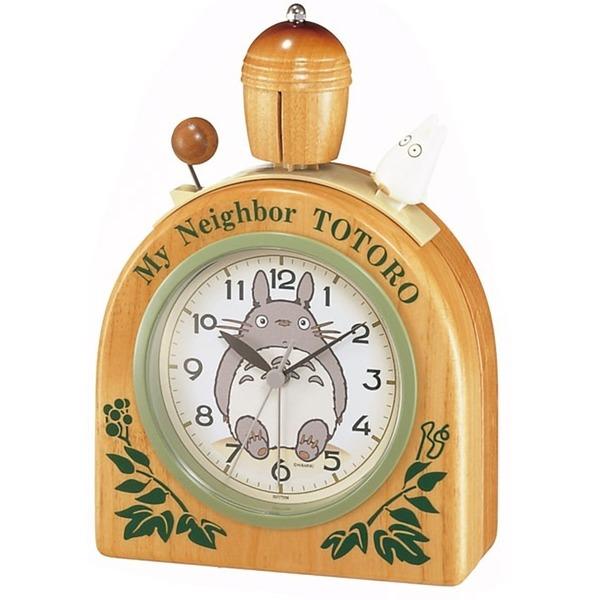 となりのトトロ 目覚まし キャラクター 時計 アナログ R455N かわいい 木製ベル 木 茶 リズム時計 4RA455MN06