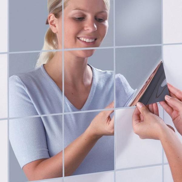 16枚 DIY 壁鏡 壁貼りシール 浴室 化粧 壁装飾ミラー 光るシール デコレーション ウォールステッカー インテリア鏡貼 安全 割れない鏡 四角形 15 x15cm