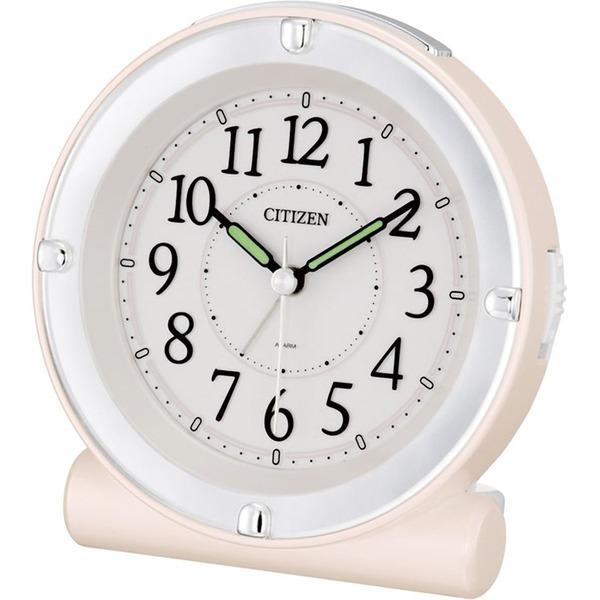 シチズン 目覚まし 時計 アナログ セリアRA18 蓄光 & ライト 連続秒針 ピンク パール CITIZEN 8REA18-013