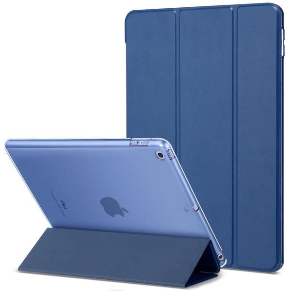 新型 iPad 9.7 2017 ケース ULAK 超軽量 極薄 レザー 三つ折スタンド オートスリープ機能 クリア 可愛い スマートカバー 新しいApple iPad 9.7インチ 2017最新版専用 (ネイビーブルー)