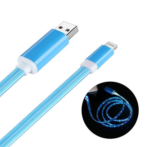 ライトニング USBケーブル,Welmor ライトニング ケーブル 光る おしゃれ 高耐久 LED 発光ライトiPhone 7/iPhone 7 Plus/6/6S//6 Plus/5/SE/iPad (iOS)対応(4カラー選択,1M,ライトブルー)