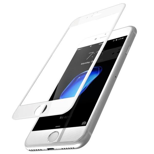 TOZO iPhone 7 フィルム iPhone 7用 強化ガラス液晶保護フィルム フルカバー ラウンド対応 3D構造[ホワイト]