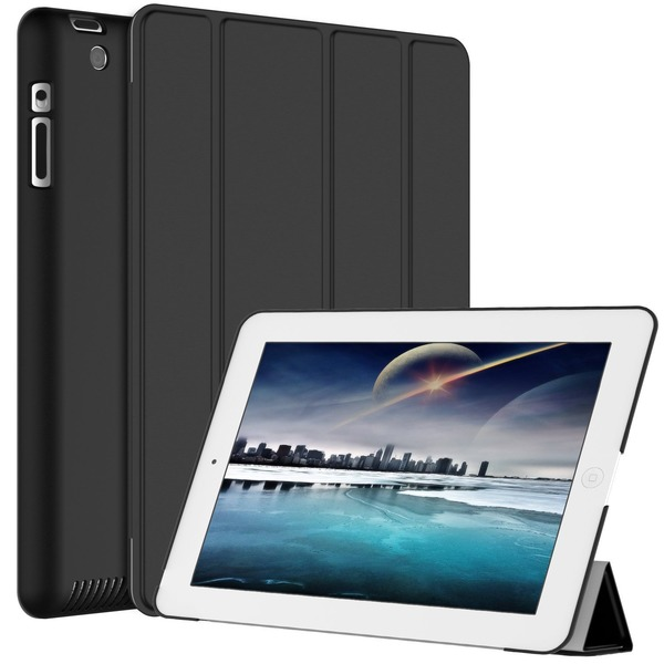 ETech iPad 2/3/4 ケース アイパッド スマートケース カバー ブラック-0210