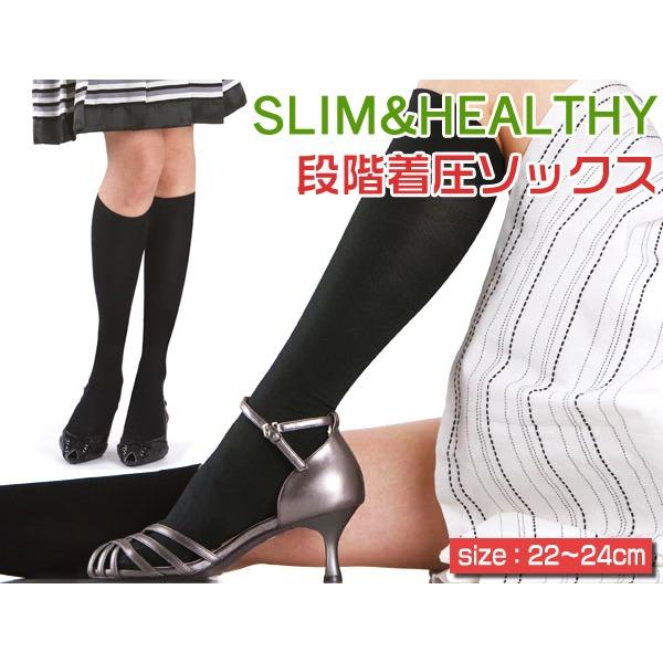 【SLIM&HEALTHY】段階着圧ソックス 1318-1 (22~24cm)ブラック(5足セット)
