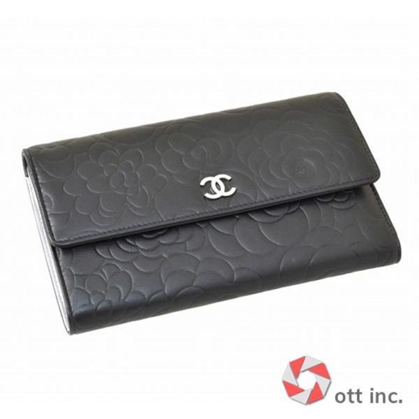 シャネル CHANEL 三つ折長財布 A48684 Y01480 C0790 ラムスキン (ブラック
