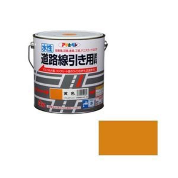 アサヒペン AP 水性道路線引き用塗料 4KG 黄色