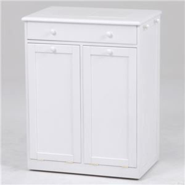 ダストボックス/ゴミ箱 【2分別/幅62cm】 ホワイト(白) 木製 キャスター付き