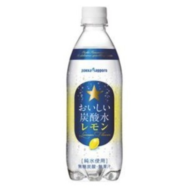 【まとめ買い】ポッカサッポロ おいしい炭酸水 レモン ペットボトル 500ml 24本入り(1ケース)
