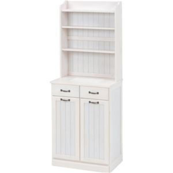ダストボックス 木製おしゃれゴミ箱 2分別 25Lペール2個付き 白(ホワイト)