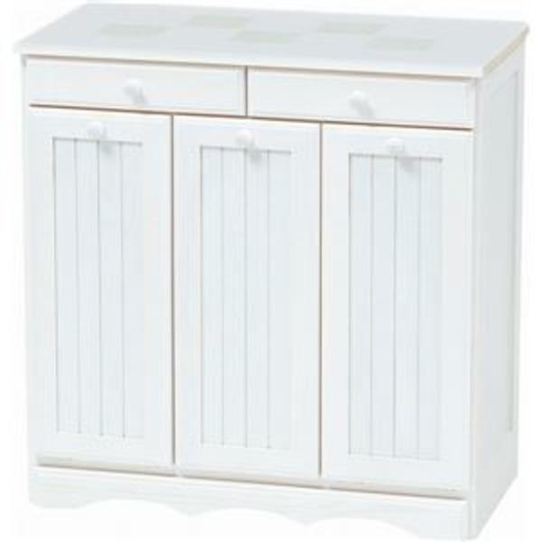 ダストボックス 木製おしゃれゴミ箱 3分別 15Lペール3個/キャスター付き 白(ホワイト) 【完成品】