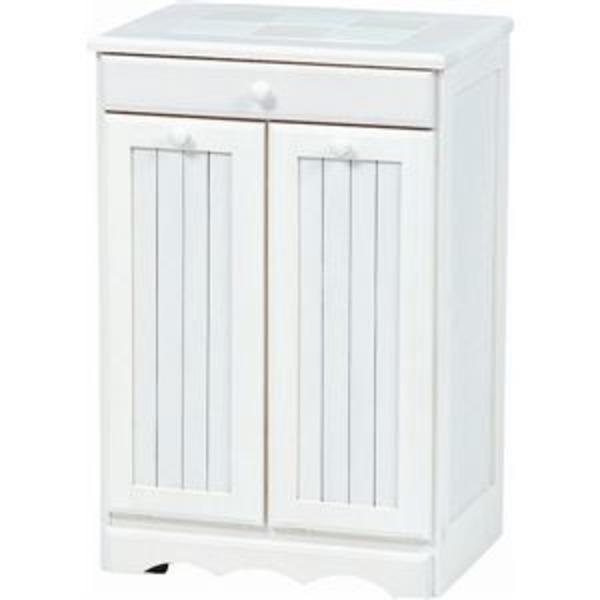 ダストボックス 木製おしゃれゴミ箱 2分別 15Lペール2個/キャスター付き 白(ホワイト) 【完成品】