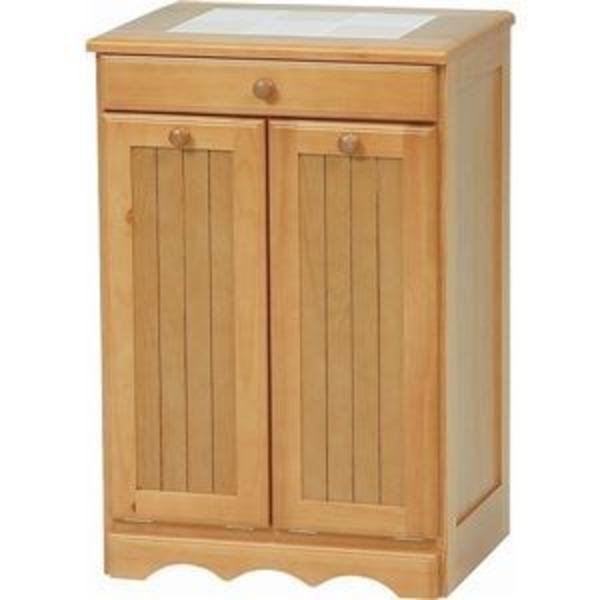 ダストボックス 木製おしゃれゴミ箱 2分別 15Lペール2個/キャスター付き ナチュラル 【完成品】
