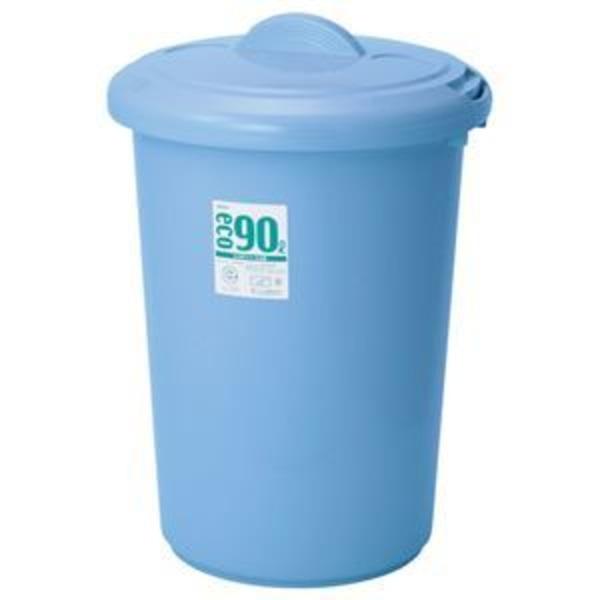 (まとめ) 積水テクノ成型 エコポリペール 丸型 90L フタ ブルー PEFN9B 1個 【×4セット】