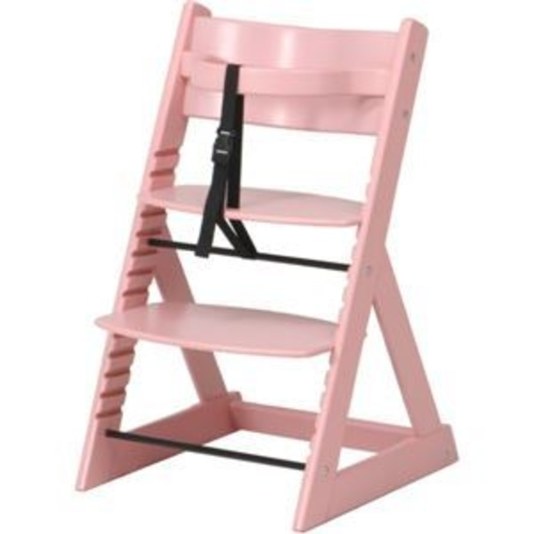 北欧調 グローアップチェア/ベビーチェア 【ピンク】 幅45cm 股ベルト付き 〔ベビー用品 子供用家具〕