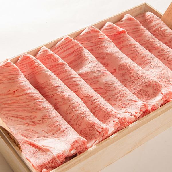 銀座牛肩ロース肉すき焼き 1K  すき焼だれ付き(無添加)桐箱・証明書付き