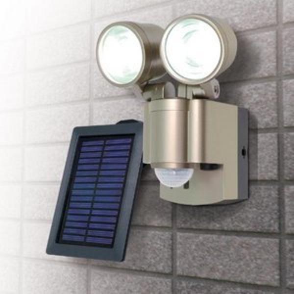 【防犯グッズ】LED×2灯・ELPA 防雨センサーライト(ソーラー) ESL-302SL
