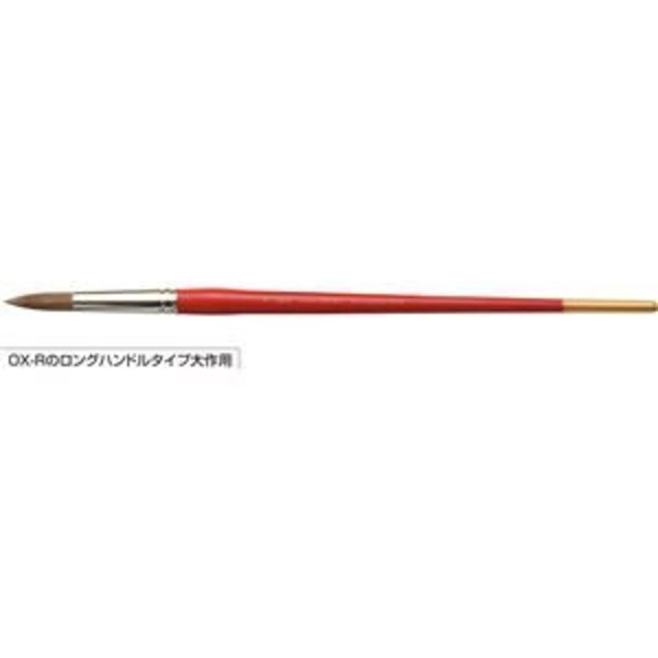 A&B 水彩画筆/描画用具 【ラウンド】 ロングハンドルタイプ大作用 オックス毛 O×-R-L 24