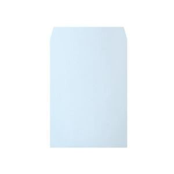 (まとめ)透けないカラー封筒 角2 パステルブルー 100枚入×5パック