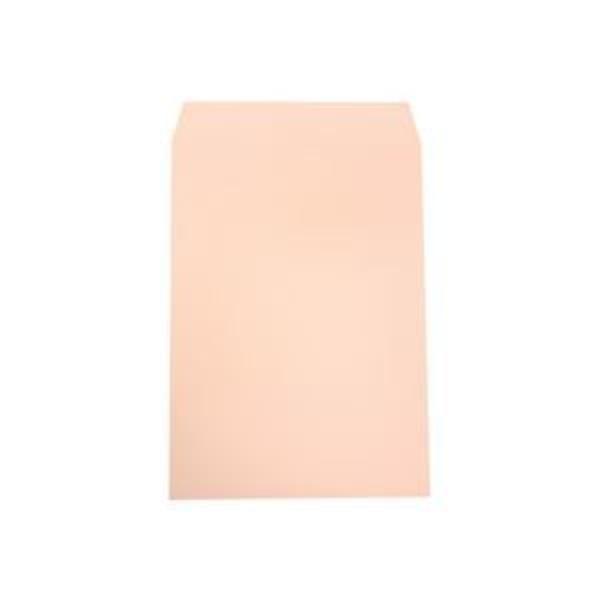 (まとめ)透けないカラー封筒 角2 パステルピンク 100枚入×5パック