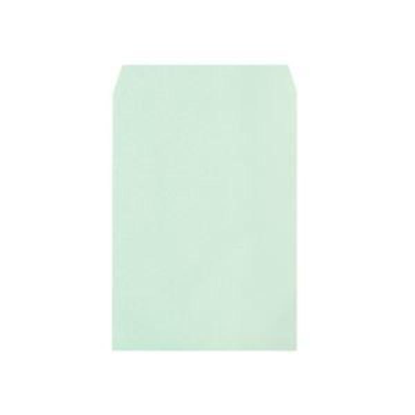 (まとめ)透けないカラー封筒ワンタッチテープ付 角2 パステルグリーン 100枚入×5パック