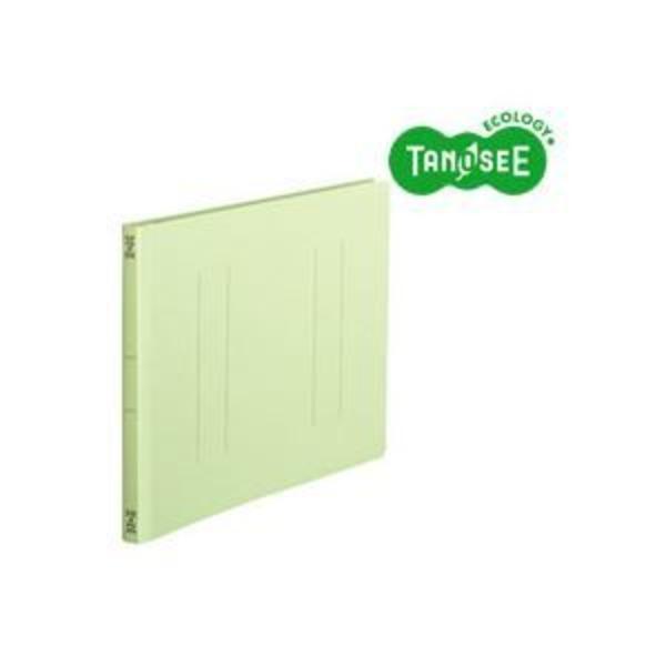 (まとめ)TANOSEE フラットファイル バインダー 2穴 <スタンダードカラー>A4ヨコ 150枚収容 緑 10冊入×10パック