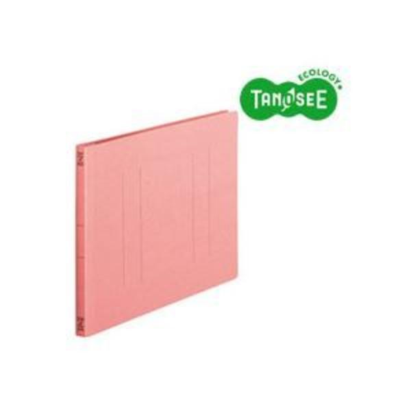(まとめ)TANOSEE フラットファイル バインダー 2穴 <スタンダードカラー>A4ヨコ 150枚収容 ピンク 10冊入×10パック