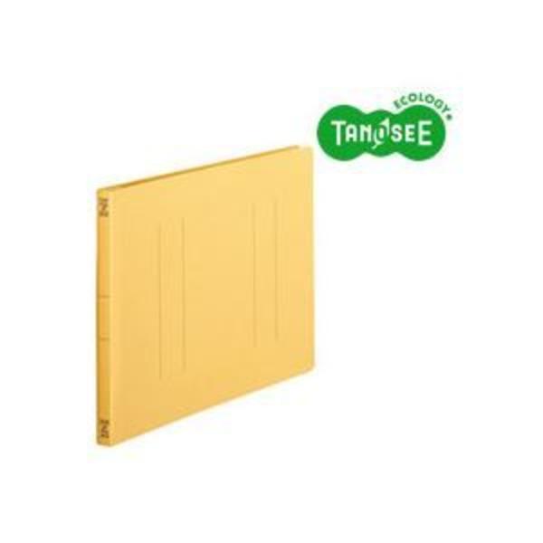 (まとめ)TANOSEE フラットファイル バインダー 2穴 <スタンダードカラー>A4ヨコ 150枚収容 黄 10冊入×10パック