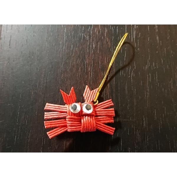 手作り「カニ」ストラップ 赤(松葉ガニ)1個