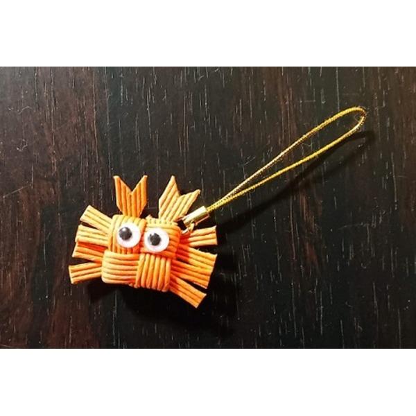 手作り「カニ」ストラップ オレンジ(香住ガニ)1個