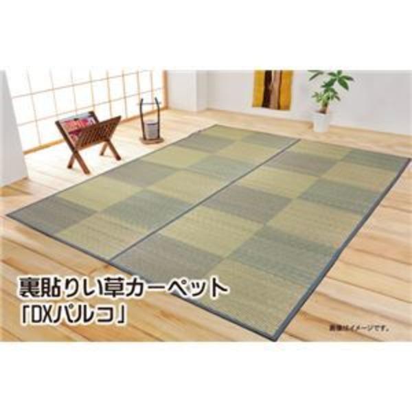 い草花ござカーペット 『DXパルコ裏貼CP』 ブラウン 江戸間6畳(261×352cm) (裏:不織布)