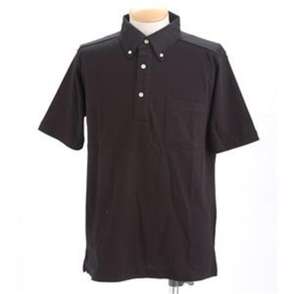 クールビズボタンダウンドライメッシュポロシャツ ブラック L
