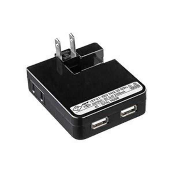(まとめ) サンワサプライ USB充電タップ型ACアダプタ 出力計2.1A 2ポート ブラック ACA-IP25BK 1個 【×2セット】