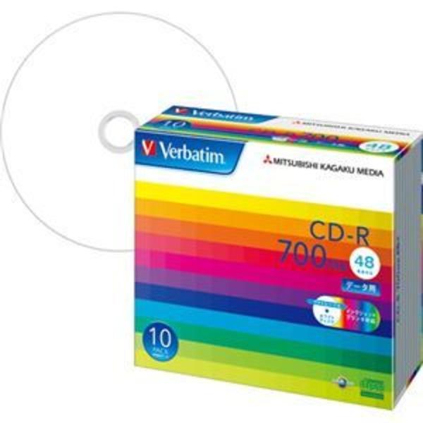 (まとめ) バーベイタム データ用CD-R 700MB ホワイトワイドプリンターブル 5mmスリムケース SR80SP10V1 1パック(10枚) 【×5セット】