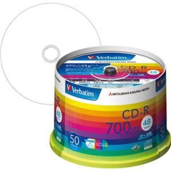 (まとめ) バーベイタム データ用CD-R 700MB ホワイトワイドプリンターブル スピンドルケース SR80SP50V1 1パック(50枚) 【×2セット】