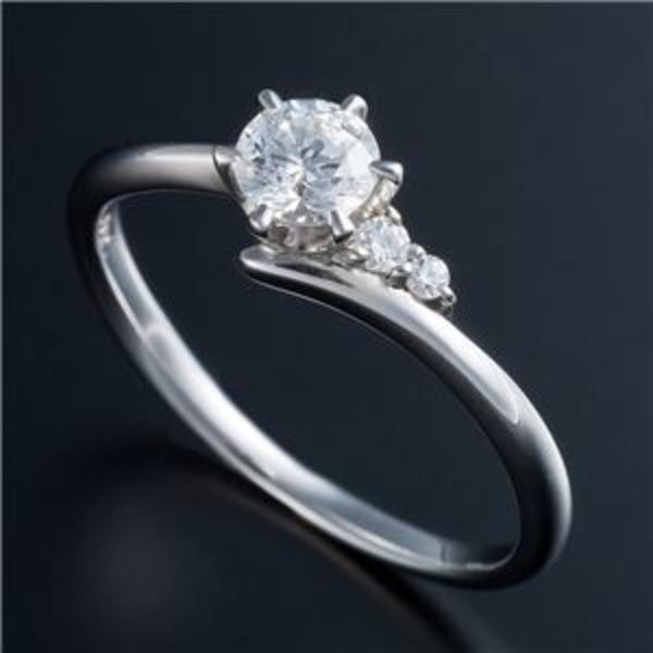 Dカラー・VVS2・EX Pt0.3ct ダイヤリング サイドダイヤモンド (鑑定書付き) 13号