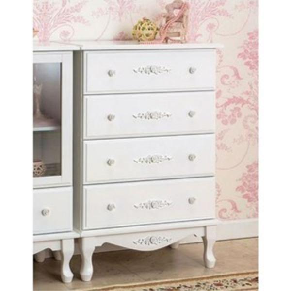チェスト(サイドチェスト) 【幅60cm】 『ピュアホワイトアンティーク飾り家具』 木製 アンティーク調/猫足