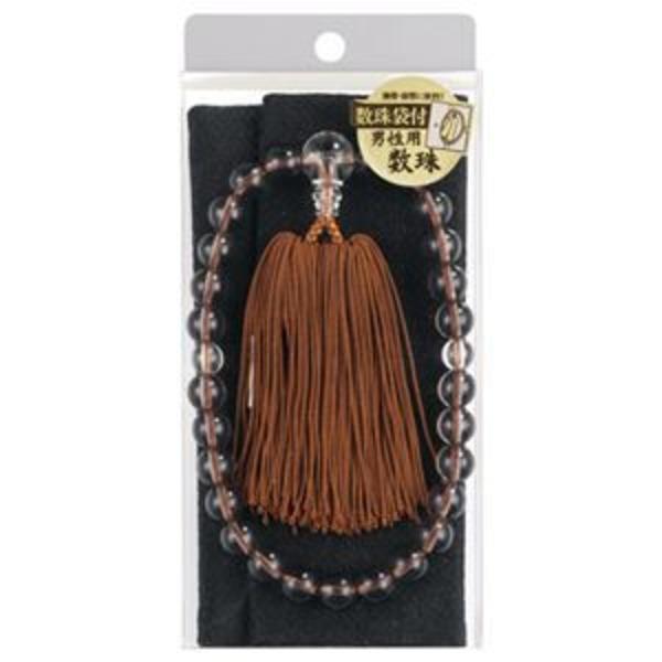 (まとめ) マルアイ 数珠セット 男性用 茶水晶風 保存袋付 ジユ-S31S 1セット 【×2セット】