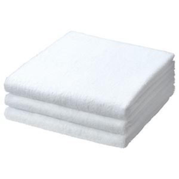 (まとめ) TANOSEE バスタオル ホワイト 1パック(3枚) 【×3セット】