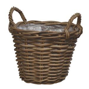【2個入】ラタンバスケット/ハンドルバスケット 【直径30cm】 取っ手付き 『モンデリック』 〔園芸 ガーデニング用品〕