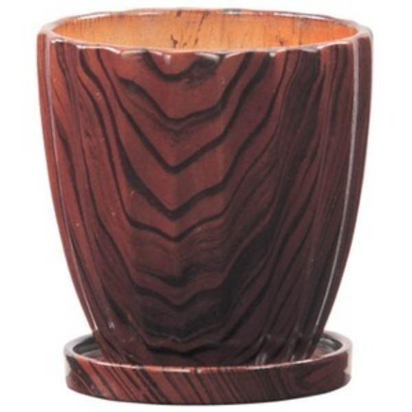 【6個入り】インテリアポット(植木鉢/プランター) 【ストライプ型 ブラウン 直径11cm】 穴あり 皿付 『ウッディ』 〔園芸用品〕